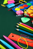 School supplies, background with copy space Royalty Free Stock Photos