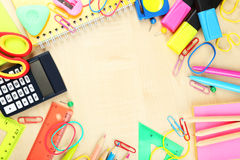 School supplies, background with the copy space Royalty Free Stock Images