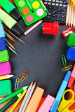 School supplies. Background with copy space Royalty Free Stock Photos