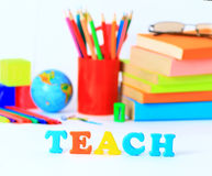 School supplies background Stock Photo