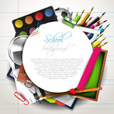 School supplies. School background with supplies and place for text Stock Image