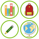School supplies, backpack, pencil, textbooks, globe Royalty Free Stock Images