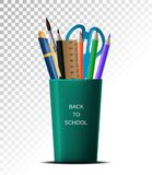 3D Realistic Back to school. School supplies in a cup on a white background transparent isolation. Royalty Free Illustration