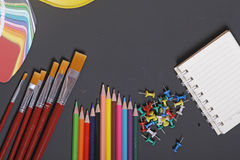 School supplies on a black background Royalty Free Stock Photos