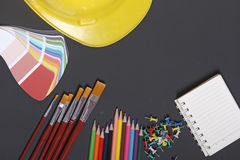 School supplies on a black background Royalty Free Stock Image