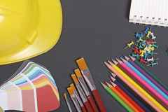 School supplies on a black background Stock Image