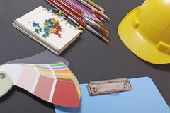 School supplies on a black background Stock Photos