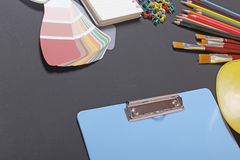 School supplies on a black background Stock Images