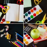 School supplies on blackboard background. back to school concept. collage royalty free stock photo