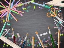 School supplies on blackboard background. EPS 10 Royalty Free Stock Photography
