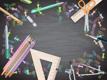 School supplies on blackboard background. EPS 10 Stock Photography