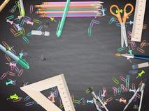 School supplies on blackboard background. EPS 10 Royalty Free Stock Image