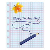School supplies on blackboard background with inscription Teacher Day Stock Photo