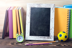 School supplies blackboard frame background. Stock Image