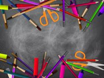 School supplies on blackboard. plus EPS10 Royalty Free Stock Photos