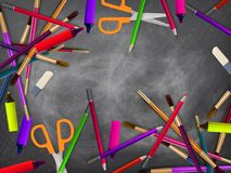 School supplies on blackboard. plus EPS10 Stock Images