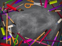 School supplies on blackboard. plus EPS10 Royalty Free Stock Images