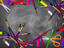 School supplies on blackboard. plus EPS10 Royalty Free Stock Photography