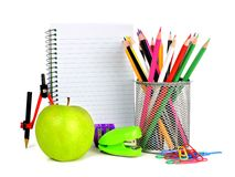 School supplies and blank notebook Stock Image
