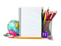 School supplies and blank notebook Stock Photo
