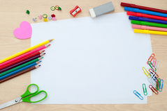 School supplies with blank pages Royalty Free Stock Images