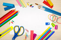 School supplies with blank paper Royalty Free Stock Images