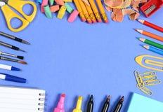 School Supplies on Blue Stock Photo
