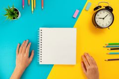 Colored pencils, notepad as a concept of learning. stock photos