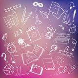 School supplies on blurred background. School supplies on blurred background, sketchy design Stock Photography