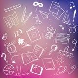 School supplies on blurred background. Sketchy design vector illustration