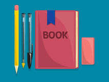 School supplies. Book, pencil, pen and eraser vector draw vector illustration