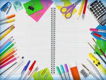 Education Supplies Border Stock Photo