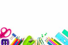 School supplies bottom border isolated on white royalty free stock photography