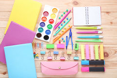 School supplies. On brown wooden table Stock Photo