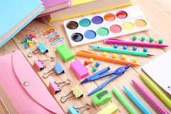 School supplies. On brown wooden table Stock Image