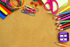 School supplies and bulletin board background Stock Image