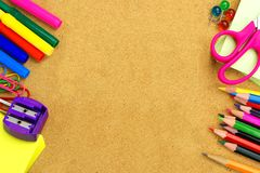 School supplies and bulletin board background Stock Photos