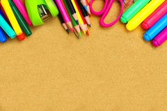 School supplies and bulletin board background Royalty Free Stock Photography