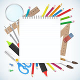 School supplies business background with empty notebook Stock Photos