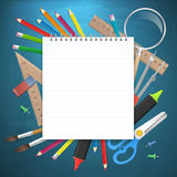 School supplies business background with empty notebook Royalty Free Stock Photo