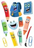 School supplies cartoon character set. Vector of school supplies cartoon character set stock illustration