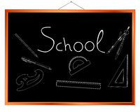 School supplies chalk drawings Royalty Free Stock Photography