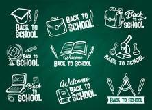 School supplies chalk sketch set on blackboard Royalty Free Stock Image