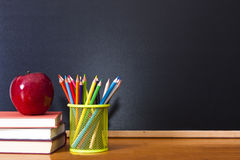 School supplies. With chalkboard, back to school concept stock photos