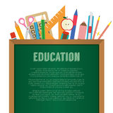 School Supplies With Chalkboard Education Concept Stock Image