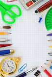 School supplies on  checked paper Royalty Free Stock Image