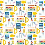 School supplies children stationary educational accessory seamless pattern background student notebook vector Stock Photography