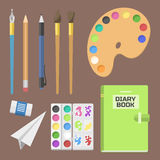 School supplies children stationary educational accessory student notebook vector illustration. Stock Photos