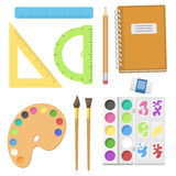School supplies children stationary educational accessory student notebook vector illustration. Stock Images