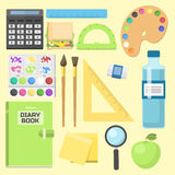 School supplies children stationary educational accessory student notebook vector illustration. Royalty Free Stock Photos